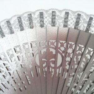 Abanico en plata para madrina y ceremonia